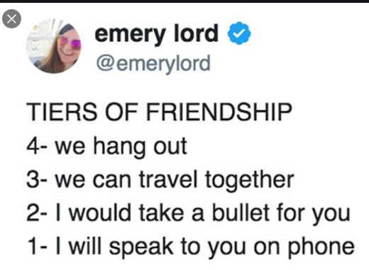 tweet emery lord tiers of friendship last speak to you on phone