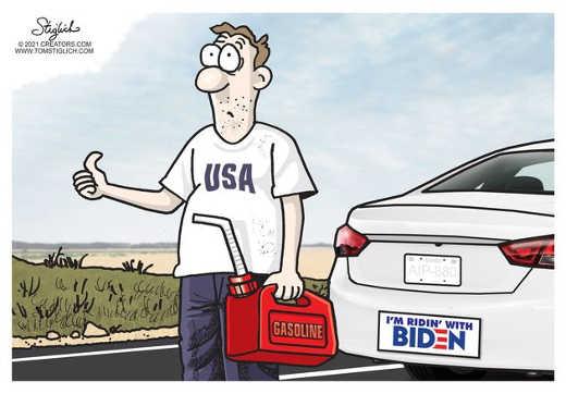 usa gasoline shortages im riding with biden bumper sticker