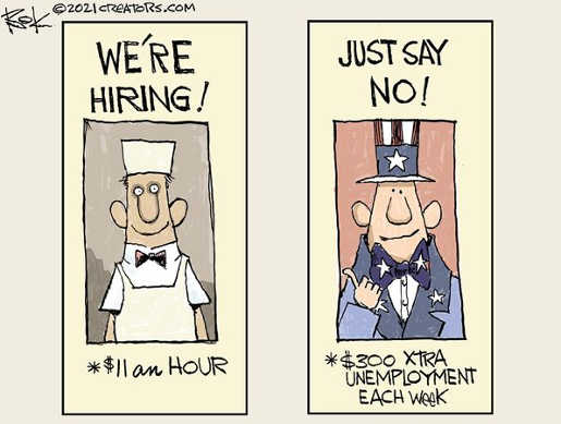 were hiring 11 an hour just say no 300 unemployment