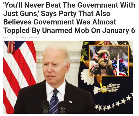 babylon bee biden never beat government with guns toppled unarmed
