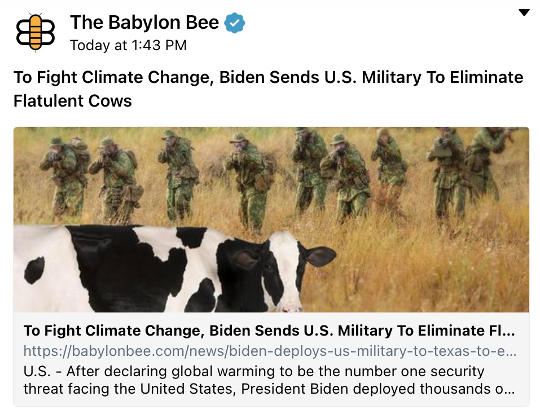 babylon bee to fight climate change biden sends us military to eliminate flatulent cows