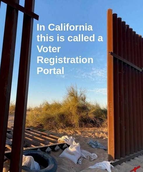 border fence gap california voter registration portal