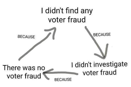 didn't investigate voter fraud found none arrows