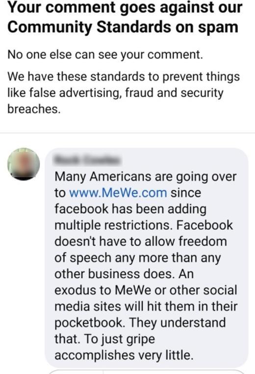 facebook community standards mewe suggestion
