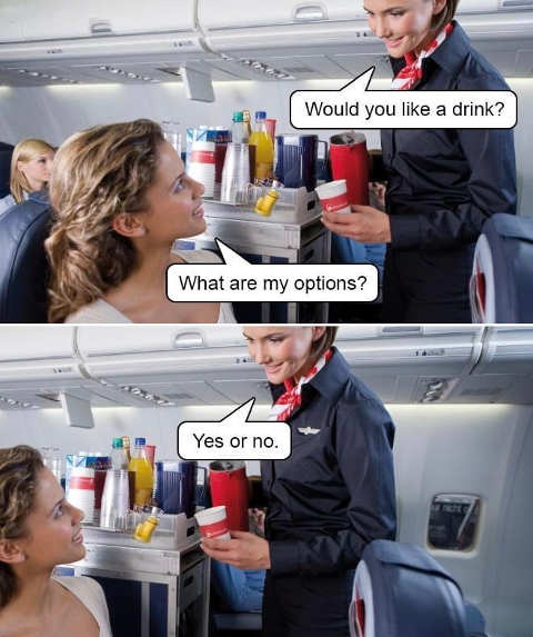 flight attendant like a drink options yes no