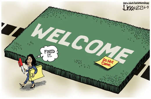 kamala harris immigration welcome mat sticky note do not come