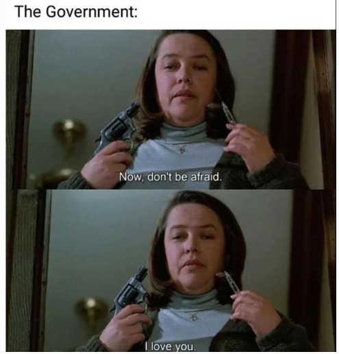 kathy bates government dont be afraid i love you gun needle