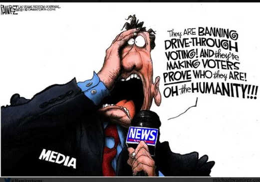 media banning drive thru voting making voters prove who they were the humanity