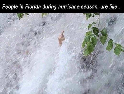 people of florida during hurricane season flipping bird