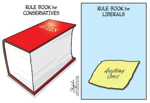 rule book for conservatives vs liberals anything goes