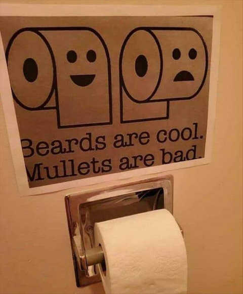 toilet paper roll beards cool mullets bad