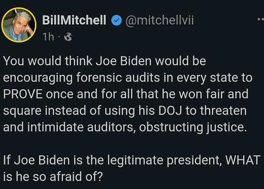 tweet bill mitchell joe biden would encourage audits prove if legitimate