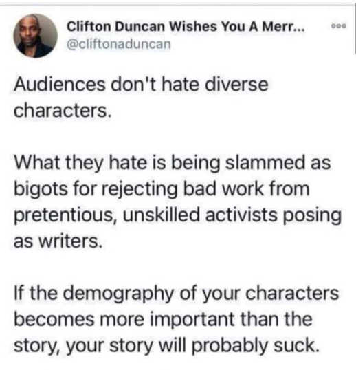 tweet duncan audiences dont hate diverse characters if demography important story probably sucks