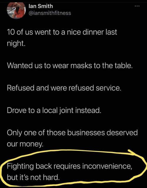 tweet ian smith dinner masks fighting back inconvenience