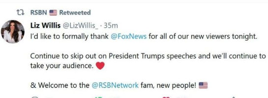 tweet liz willis thanks for new viewers from foxnews not showing trump