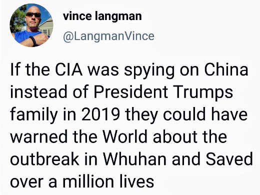 tweet vince langman cia spying on trump not china