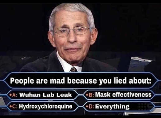 who wants millionair dr fauci lied about wuhan hydroxychloroquine masks everything