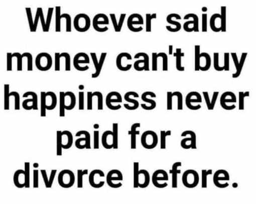 whoever said money cant buy happiness never paid for divorce