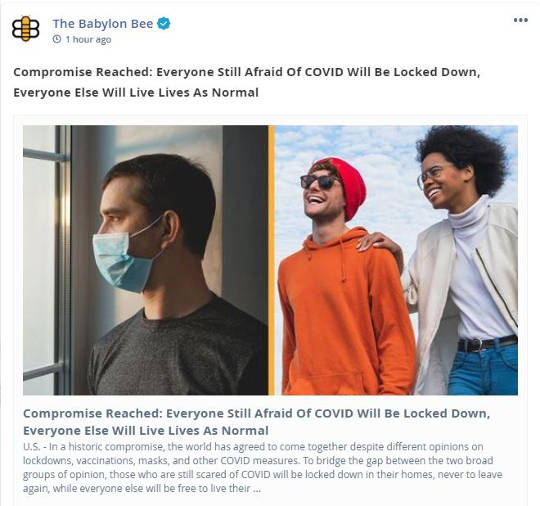 babylon bee compromise everyone scared covied locked down everyone else live normal