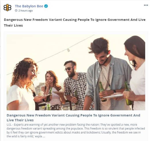 babylon bee dangerous new freedom variant detected ignore government live their lives