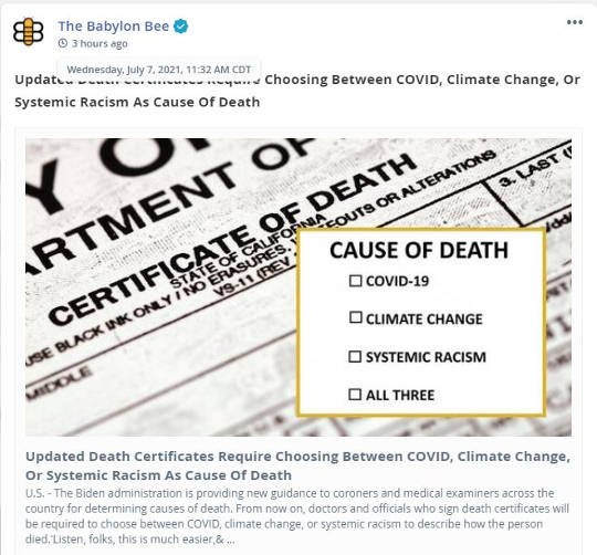 babylon bee death certificates now covid climate change or systemic racism