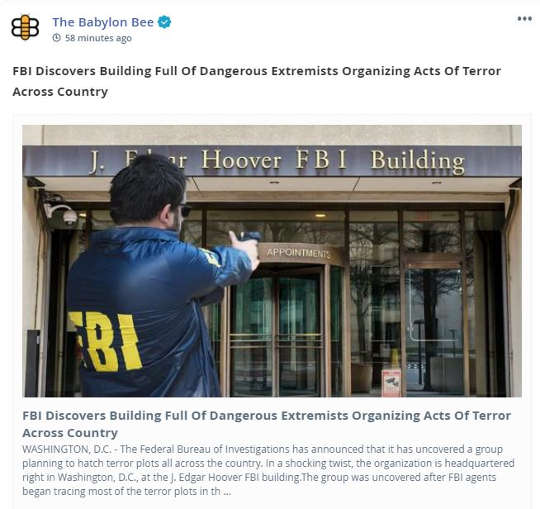 babylon bee fbi discovers building extremists organizing acts of terror
