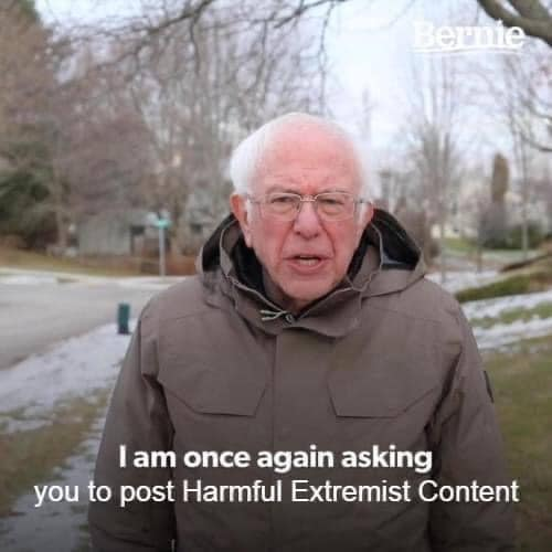 bernie sanders once again asking you post extremist content