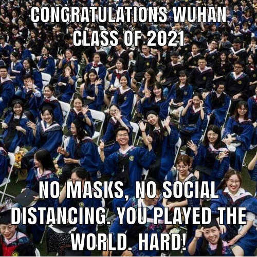 congratulations class 2021 wuhan no masks social distancing