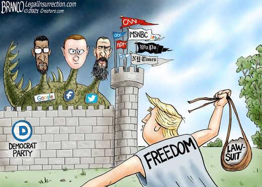 donald trump freedom lawsuit democrat google facebook twitter mainstream media