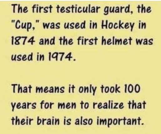 first testicular guard 1874 helmet 1974 100 years men brains important