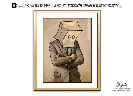 how jfk would feel about todays democratic party bag over head