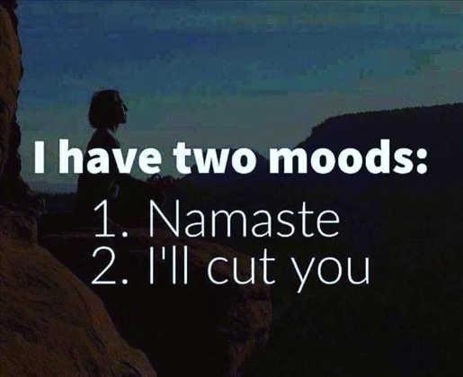 i have 2 moods namaste ill cut you