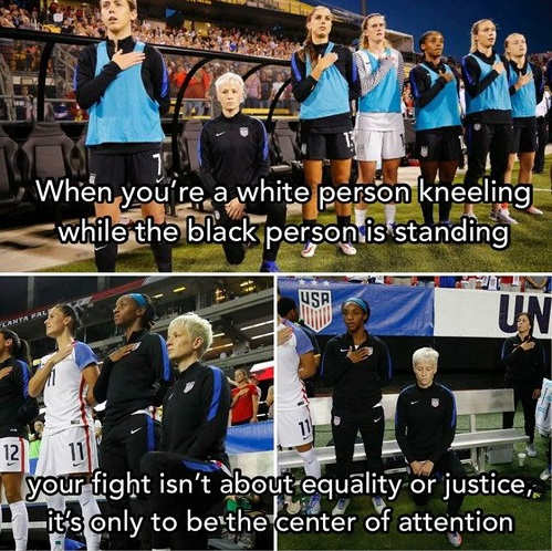 if white person kneeling rapinoe center of attention