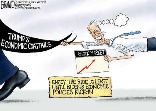 joe biden riding trump economic coattails stock market up