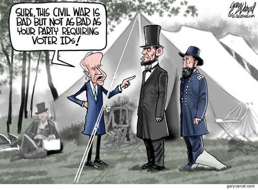 joe biden sure civil war bad not like republicans requiring voter id