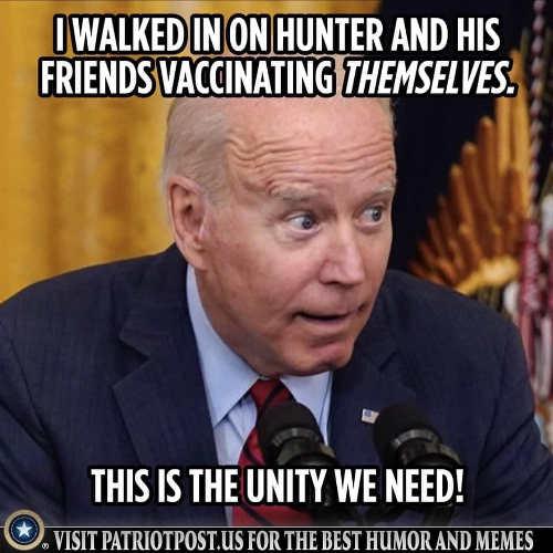 joe biden walked in hunter friends vaccinating themselves
