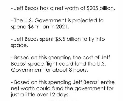 lesson of the day jeff bezos space government spending hours