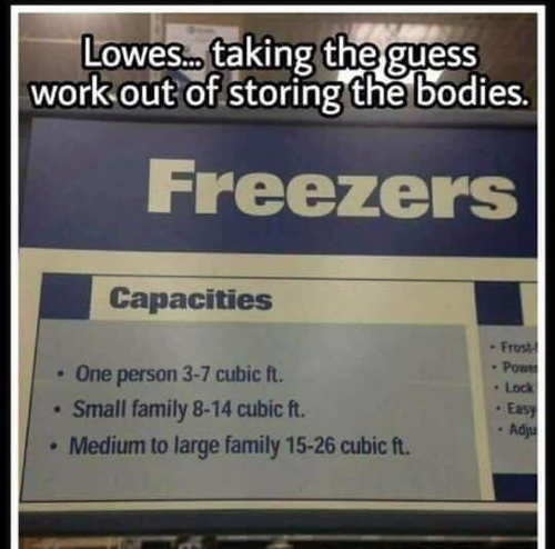 lowes takes guess work out of bodies freezers person family