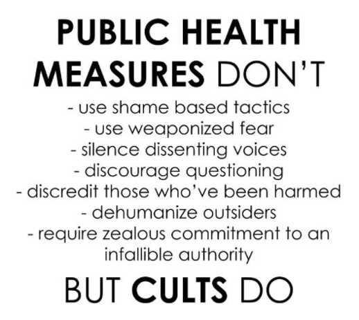 message public health measures cults shame weaponized fear silence dissent dehumanize