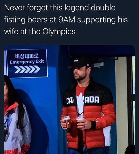 never forget legend double fisting beers 9am wife olympics