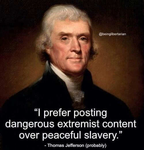 quote thomas jefferson peaceful slavery extremist content