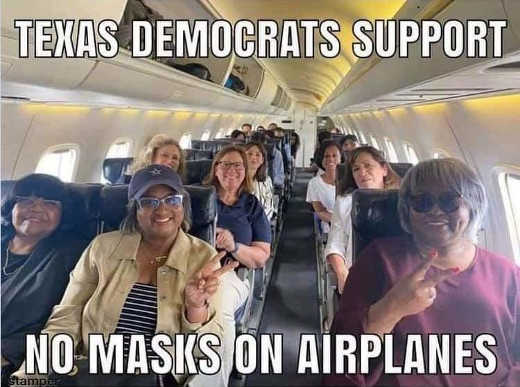 texas democrats support masks on airplanes