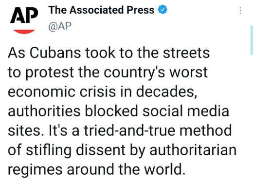 tweet ap as cubans protest economic crisis authorities blocked social media sites