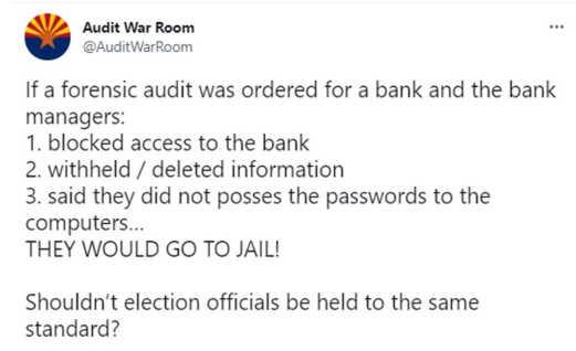 tweet audit war room blocked access forensic election officials standard