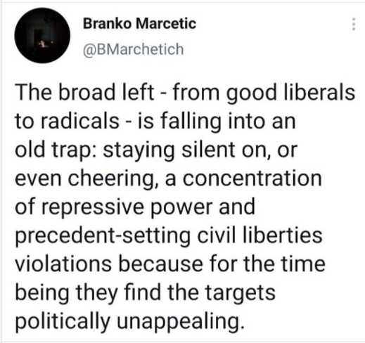 tweet brankdo left liberals staying silent cheering repression civil liberties targets politically unappealing