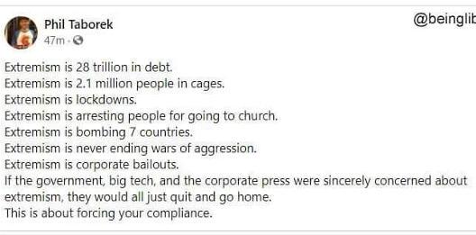 tweet taborek extremism trillion debt lockdowns arrests wars bailouts force compliance