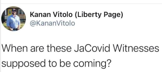 tweet vitolo when are jacovid witnesses coming