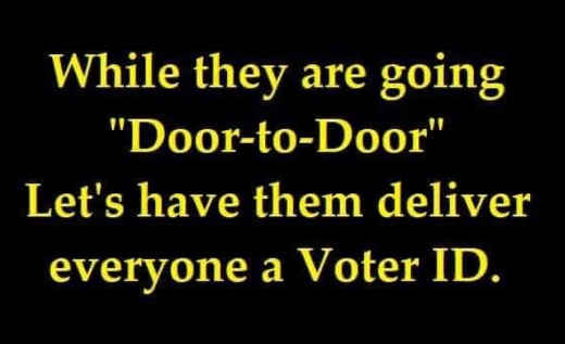 while delivering door to door vaccine deliver voter id