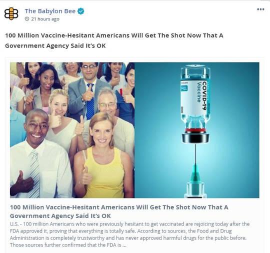 babylon bee 100 million vaccine hesitant get shot now government agency says ok