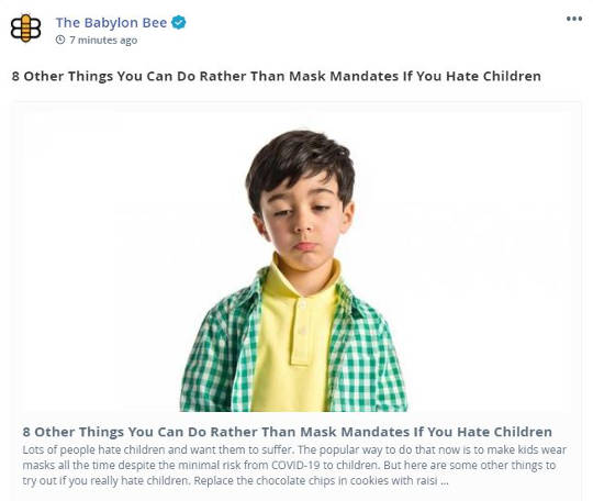 babylon bee 8 other things other than mask mandates if you hate children
